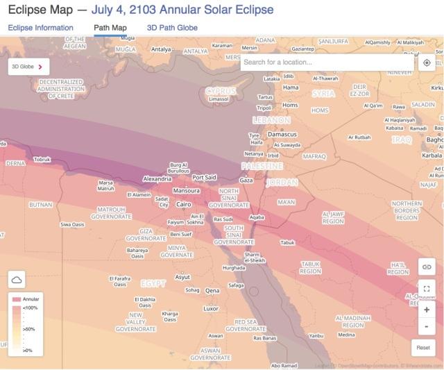 July 4 2103 Eclipse path